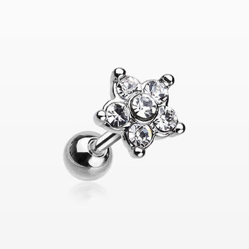Starburst Sparkle Flower Cartilage Tragus Earring