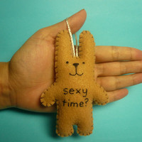 Funny Valentine felt bunny ornament, sexy time?, Christmas ornament, gifts for men, gifts for him, gag gift