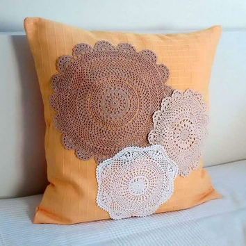 Lace pillow cover, fabric throw pillow, vintage crochet lace pillow