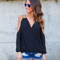 Women's Black Strappy Cold Shoulder Sexy Chiffon V-Neck Blouse Top Criss Cross Front