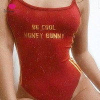 WannaThis Pulp Fiction Letter Printed Bodysuits Women Sexy Sleeveless High Leg Side Stripe Camis Red Bodysuit Summer Female Lady