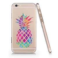 Colorful Pineapple Clear Transparent Plastic Phone Case for iphone 6 6s _ SUPERTRAMPshop