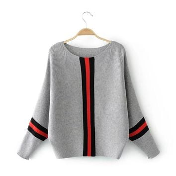 Casual Long Sleeve Womens Sweaters Winter Autumn Knitted Sweater Women Pullover Women Vertical Stripe Jumper Pull Femme