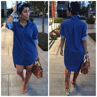 Blue Long Sleeve Mini Blouse