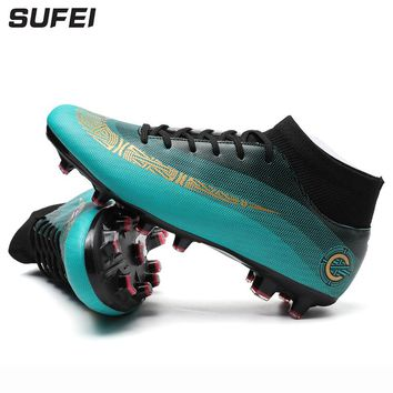 sufei 2018 Men Soccer Shoes Superfly Outdoor Ankle Breathable Kids Football Boots Cheap Training Cleats Sport Trainer