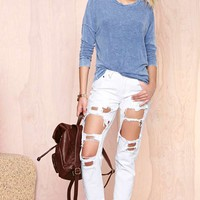 Reverse Destroyed Boyfriend Jeans