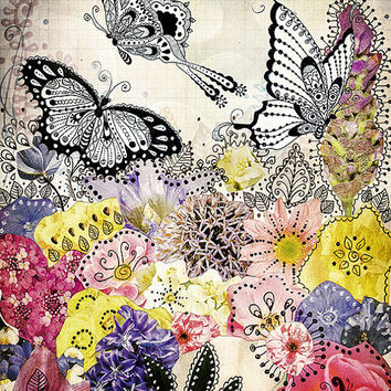 Butterfly Garden - fine art print, mixed media collage art, butterfly art, butterfly print, bohemian art, purple, pink, floral wall art