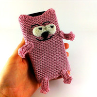 Cat phone case Knitted phone case Cell phone case Pink phone case Cat lover gift Phone cover Custom phone case Smartphone case Phone cases