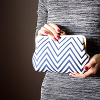 Chevron Clutch -Navy and White clutch - Summer Clutch Purse -  Evening Bag