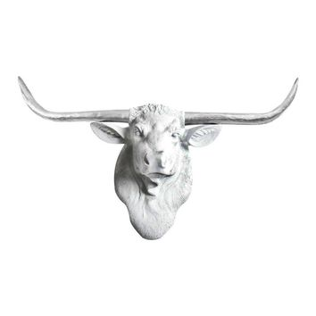 The Texas   Large Longhorn Cow Head   Faux Taxidermy   White  + Silver Longhorn Resin