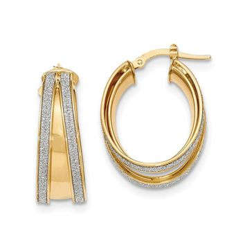 14K Yellow Gold Polished Glitter Infused Small Oval Hoop Earrings