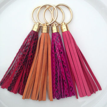 Leather Tassel Keychains - Red Snakeskin, Orange Suede, Hot Pink Snakeskin, Pink Suede - Jcrew / Coach Inspired