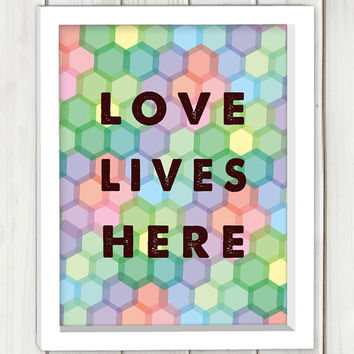 Love lives here printable art,DIGITAL FILE, wall art, home decor,art print,instant download