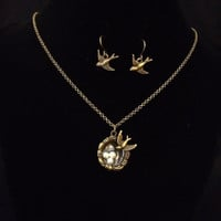 Antiqued bronze bird and nest with pearl eggs necklace and earring set