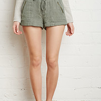 Zippered Pocket Drawstring Shorts