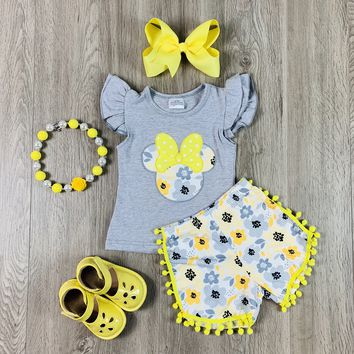 RTS Minnie Yellow Floral Short Set W/ PomPoms