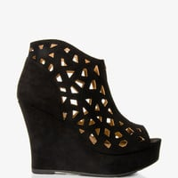 Cutout Wedge Booties
