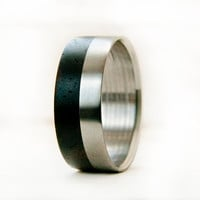 Mens Wedding Band -Wood ring and Titanium ring