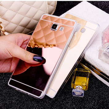 Luxury Mirror Phone Case For Samsung Galaxy J5 J7 Electroplating Soft Clear TPU Back Shell For Samsung J5 2016 J7 2016 Fundas
