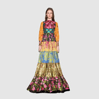 Gucci Patchwork jacquard gown with bow