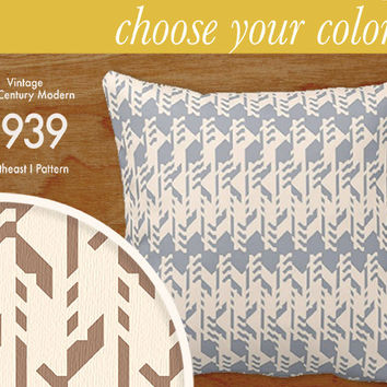 """Custom Mid-Century Modern Pattern Pillow - Southeast I - Throw Pillow, 16x16"""" or 20x20"""" pillow or pillow cover - laurenmary original design"""