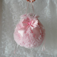 Pink plush pompadour purse evening handbag wristlet drawstring reticule