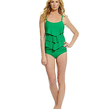 Alex Marie Ruffle Tankini Top and Knot Sash Classic Bottom | Dillards.com