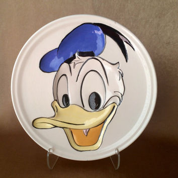 Vintage Donald Duck, Wall Hanging, Painted Ceramic, Walt Disney Product, Childs Room Decor, Fantasy Figure, Disney Duck Plate