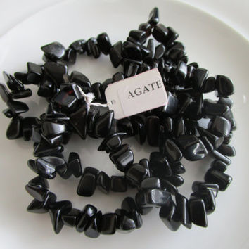 32 inch strand chip black agate gemstone beads, agate chip beads - 0.25-0.5 inches - jewelry bead supplies - chip bead supplies - gemstone