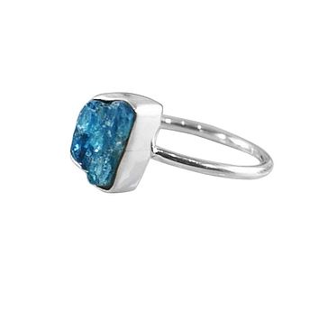 Apatite Raw Crystal Ring Sterling Silver
