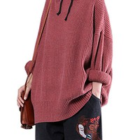 Women's Cotton Long Sleeve With Hood Tunic Sweatshirt Tops Jumper