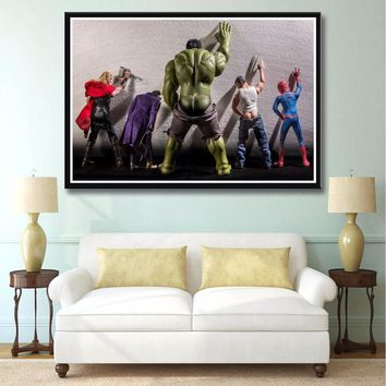 J0266- Hulk Thor Joker Spider Man The Avengers Superhero Hot Art Print Poster Silk Light Canvas Painting Wall Picture Home Decor