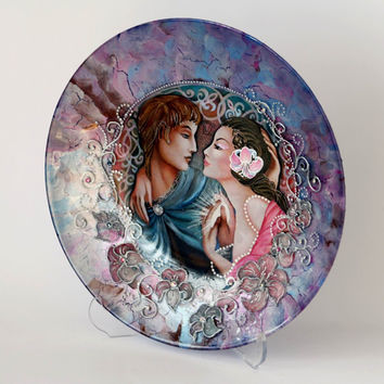 Decorative PlateLovely Wedding Gift Valentines by NevenaArtGlass