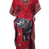 Womens Long Kaftan Red Black Elephant Printed Caftan Cover up Dress Summer Dresses