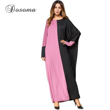 Casual Muslim Maxi Dress Cotton Abaya Bat Sleeve Middle East Long Robe Gowns Turkish Jilbab Ramadan Arab Islamic Prayer Clothing