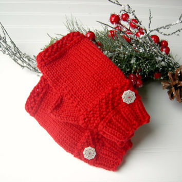Christmas Red Snowflake Fingerless Gloves OOAK by WindyCityKnits