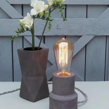 "Concrete Lamp ""The Cylinder"" - Lighting - Dark concrete table lamp with textile cable and vintage Edison bulb"