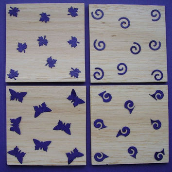 Set of 4 Decorated Balsa Wood Coasters, Purple, Handmade