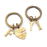 He Who Holds The Key Keychains, Key To My Heart, His & Hers Personalized Set, Boyfriend Keyring, Girlfriend Gift, Couples Present