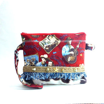 Rockabilly bag, 50's retro wristlet, western bag, western clutch, western wear, western wedding, country western bag, rodeo, zipper wristlet