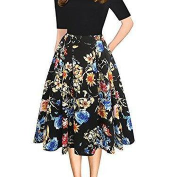 Womens  Vintage Patchwork Pockets Puffy Swing Party Dress OX165 (L, Floral)