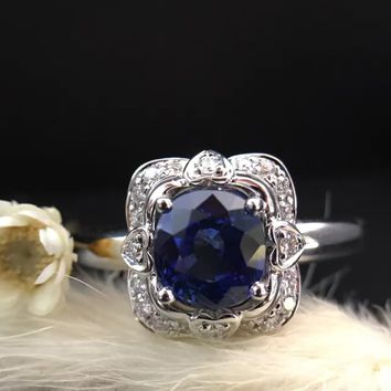 1.428ct+0.108ct 18K Gold Natural Sapphire Women Ring with Diamond Setting 2017 New Fine Jewelry Wedding Band Engagement