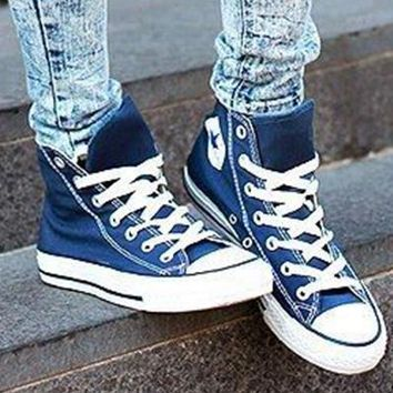 converse fashion canvas flats sneakers sport shoes high tops dark blue