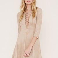 Faux Suede Lace-Up Dress | Forever 21 - 2000186432