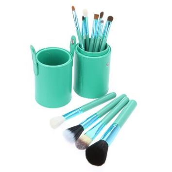 Abody New 12pcs Professional Makeup Brush Set Cosmetic Brush Kit Makeup Tool with Cup Leather Holder Case (Green)