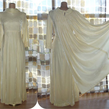 Vintage 60s Dress | 1960s Cape Dress | Ivory Velvet | Wedding Bridal | Renaissance Gown | Small XS | TLC