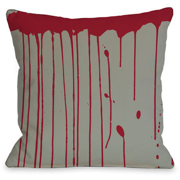 """Dripping Blood"" Indoor Throw Pillow by OneBellaCasa, 16""x16"""
