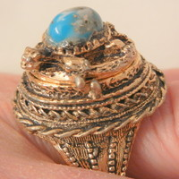 Very Rare turtle Turquoise color cabochon poison Ring