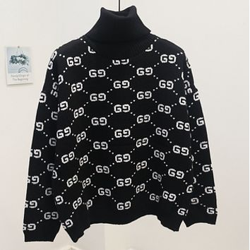 GUCCI new autumn and winter joker sweater female high collar double g letter sweater Pure black