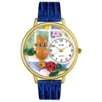 Whimsical Unisex Aristo Cat Royal Blue Leather Watch